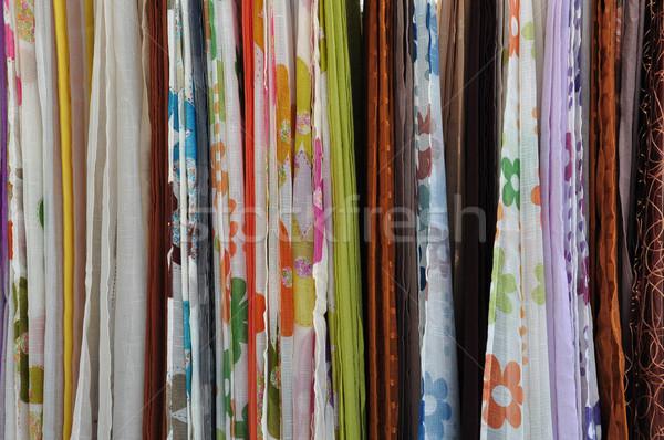 Photo stock: Coloré · textiles · vente · rue · marché · résumé