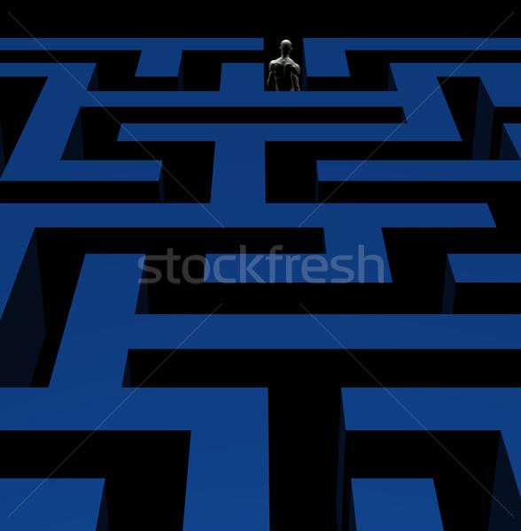 man exiting maze 3d illustration Stock photo © sirylok