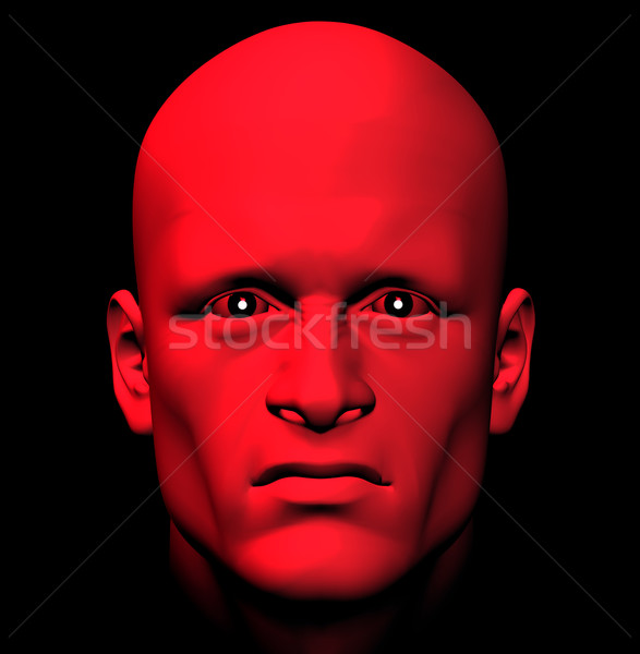 Rojo ira hombre ardiente ojos 3d Foto stock © sirylok