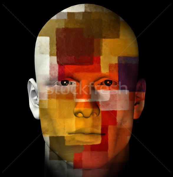 Abstrato masculino descobrir retrato colorido padrão Foto stock © sirylok