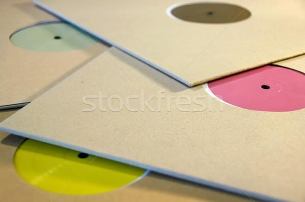 Foto stock: Colorido · vinil · registros · cartão · manga