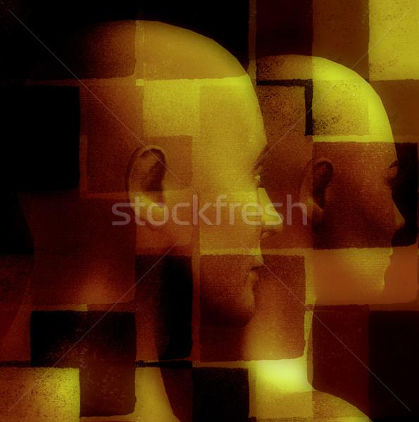 Dois masculino feminino padrão geométrico 3D computador Foto stock © sirylok