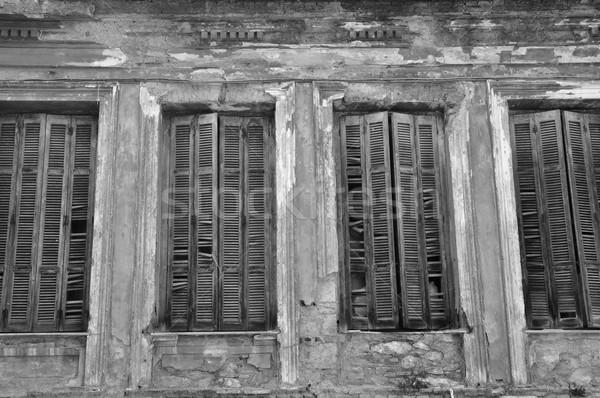 Törött ablak zsalu fából készült mintázott fal Stock fotó © sirylok
