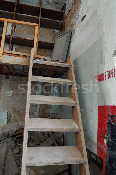 crumbling attic and wooden stairs Stock photo © sirylok
