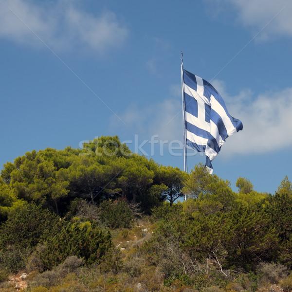 ギリシャ語 フラグ 山 先頭 ザキントス ギリシャ ストックフォト © sirylok