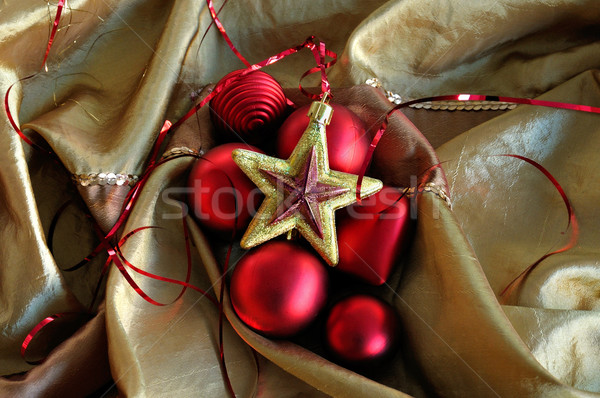 red heart and golden star christmas background Stock photo © sirylok
