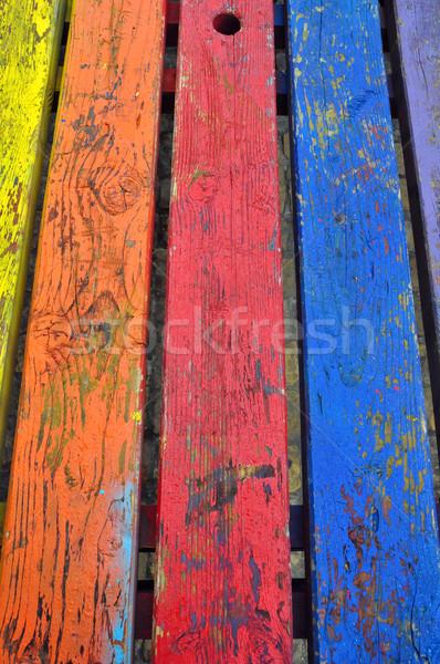 żywy kolory drewna malowany streszczenie Zdjęcia stock © sirylok