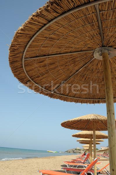 砂浜 わら ビーチ 傘 ザキントス ギリシャ ストックフォト © sirylok