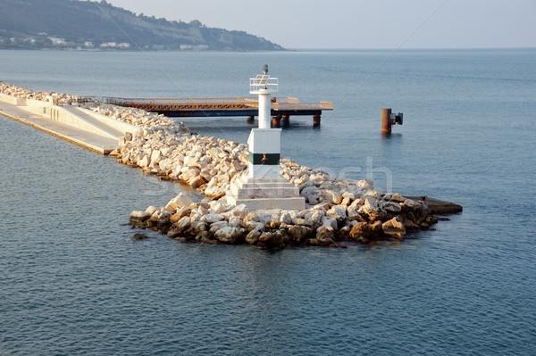 lighthouse and rock jetty breakwater Stock photo © sirylok