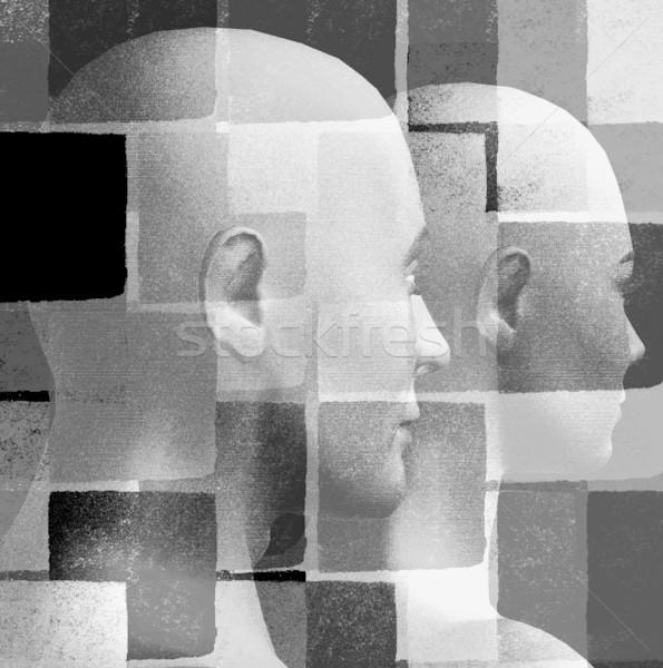 Humanismo futurista casal padrão geométrico 3D preto e branco Foto stock © sirylok