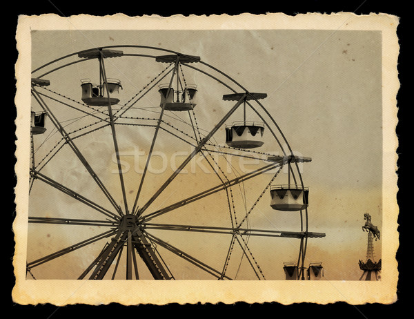 vintage photo of ferris wheel in amusement park Stock photo © sirylok