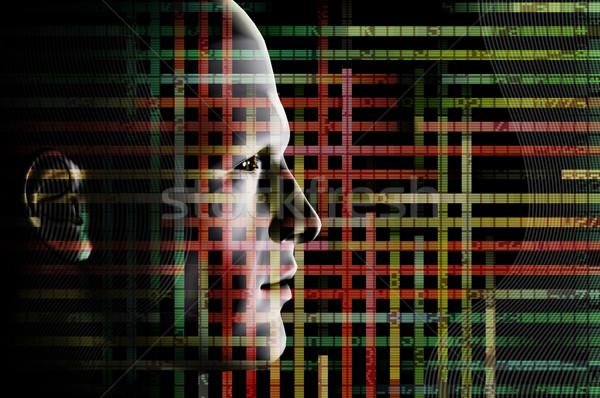 wired man and computer code Stock photo © sirylok