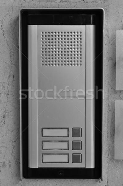 Sonnette boutons orateur blanc noir porte sécurité Photo stock © sirylok