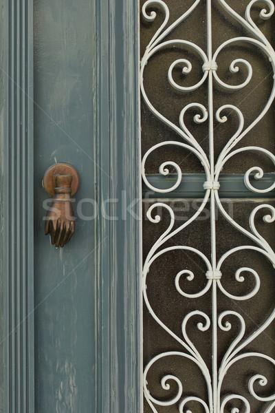 Deur metaal patroon vintage houten spiraal Stockfoto © sirylok