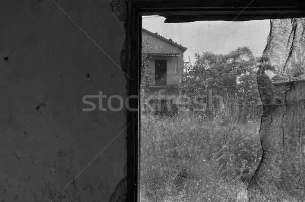 old crooked window abandoned house Stock photo © sirylok