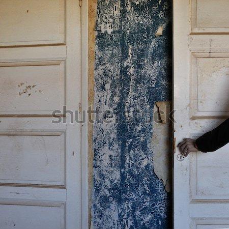 Stockfoto: Geheugen · cijfer · behang · muur · verlaten · huis