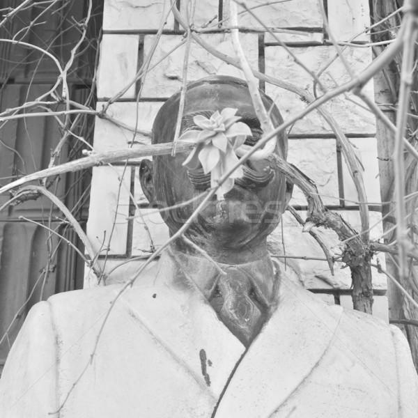 vandalized statue of man with mustache Stock photo © sirylok