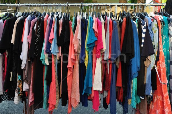 Lezser nyár ruházat vásár utca piac Stock fotó © sirylok