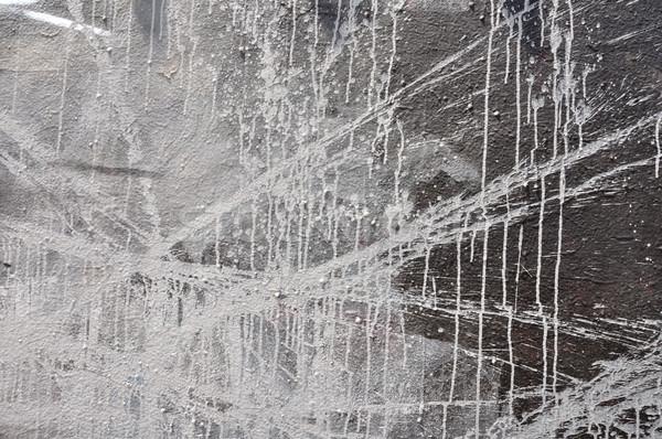 Fehér festék fekete fal mázgás absztrakt Stock fotó © sirylok