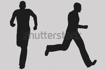 Fut férfi illusztráció sziluett elöl oldalnézet Stock fotó © sirylok