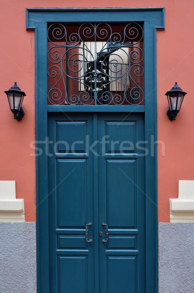 blue door with antique iron pattern Stock photo © sirylok
