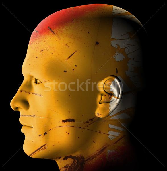 Rozsdás android futurisztikus profil 3D digitálisan Stock fotó © sirylok