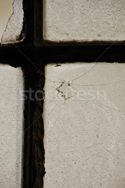 Stoffig glas venster gebroken abstract textuur Stockfoto © sirylok