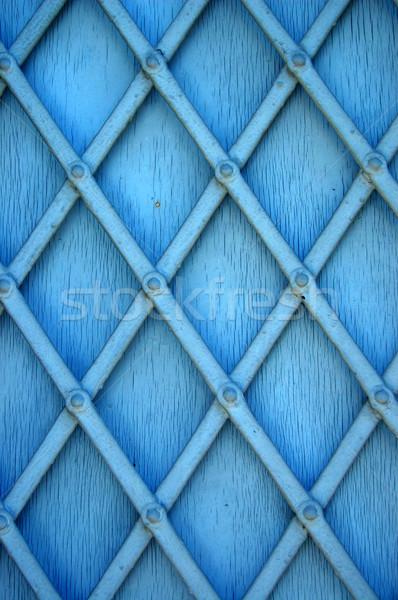 Kék zsalugáter fém részlet absztrakt textúra Stock fotó © sirylok