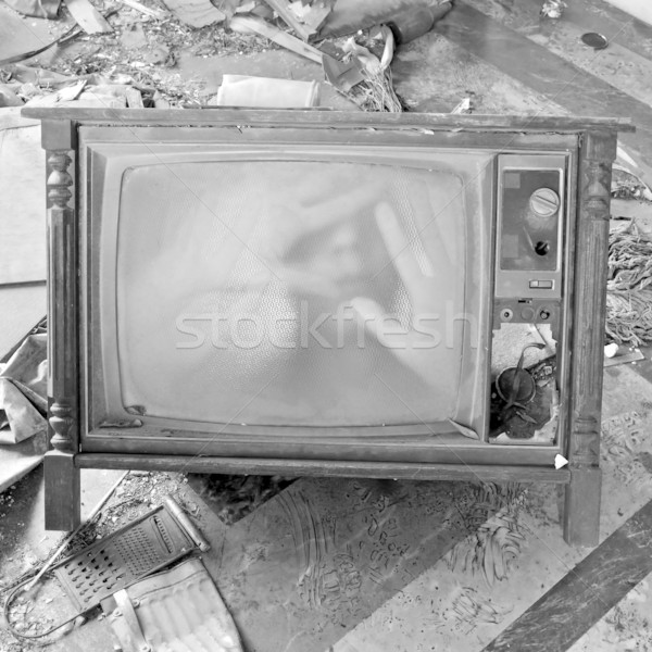 ghostly figure on vintage tv set Stock photo © sirylok