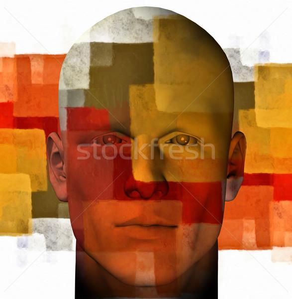 抽象的な 男性 図 肖像 幾何学模様 3D ストックフォト © sirylok