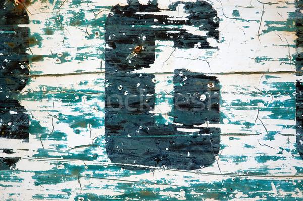 Type stencil detail verweerde roestige metalen oppervlak Stockfoto © sirylok