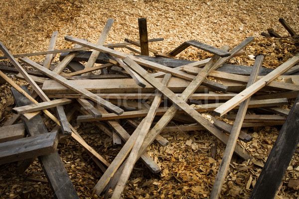 Old scrap lumber and wood chips Stock photo © skylight