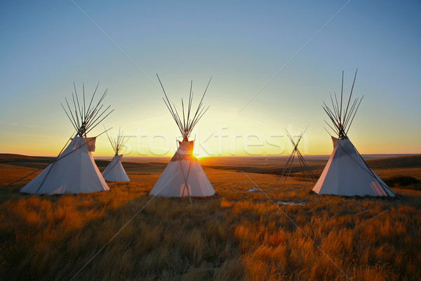 Tipis at sunrise Stock photo © skylight