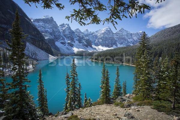 堆石 湖 公園 美しい 光 雪 ストックフォト © skylight