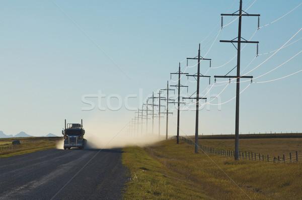 грузовика гравийная дорога синий пыли отражение Сток-фото © skylight