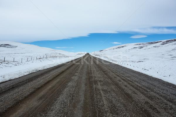 Kavicsút tél tájkép déli hó kék ég Stock fotó © skylight