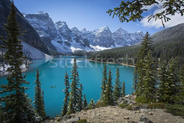 Moraine Lake with Canoe in Banff National Park Stock photo © skylight