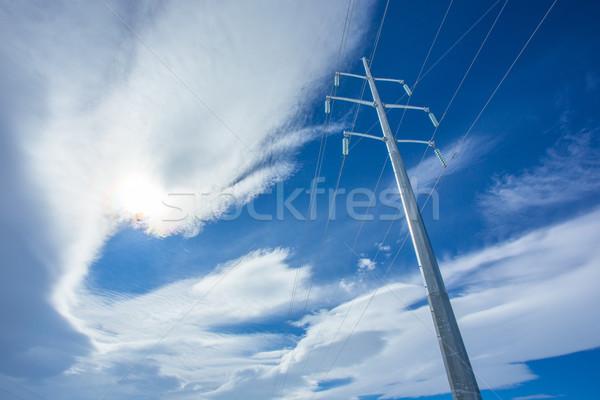 электроэнергии горизонтальный стали драматический Blue Sky облака Сток-фото © skylight