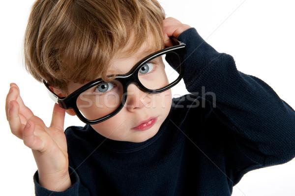 Sevimli erkek büyük gözlük komik küçük Stok fotoğraf © SLP_London
