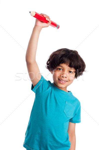 Sevimli çocuk dev kalem erkek Stok fotoğraf © SLP_London
