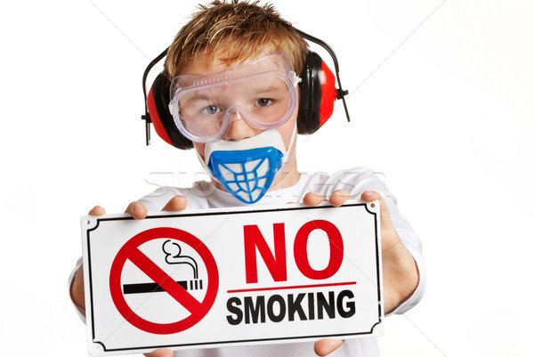Boy with protection and no smoking sign Stock photo © SLP_London