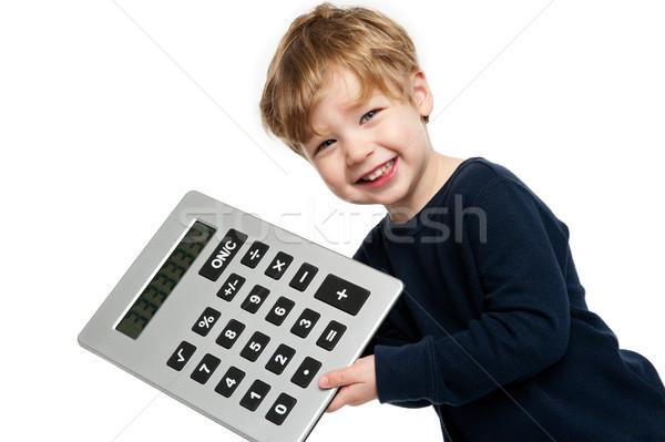 Sevimli erkek büyük hesap makinesi gülen Stok fotoğraf © SLP_London