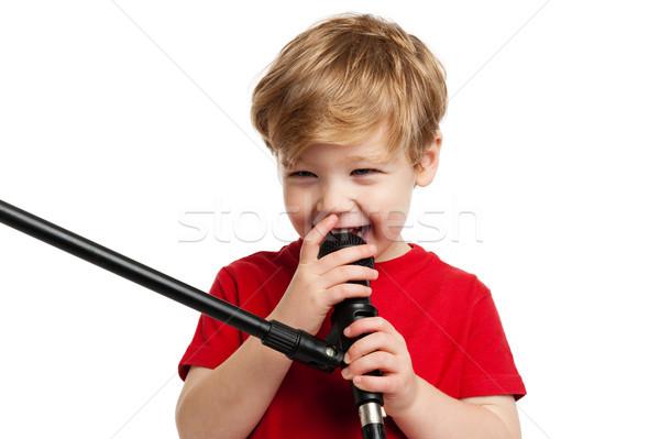 Cute chłopca śpiewu śmiechem mikrofon Zdjęcia stock © SLP_London