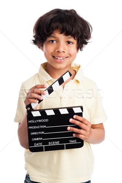 Sevimli erkek tahta film yalıtılmış Stok fotoğraf © SLP_London