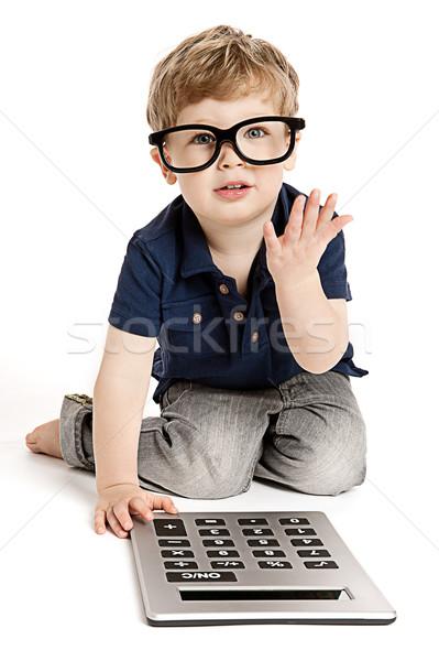 Sevimli erkek hesap makinesi bit gözlük Stok fotoğraf © SLP_London