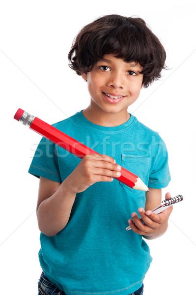 Aranyos félvér gyerek óriás ceruza fiú Stock fotó © SLP_London
