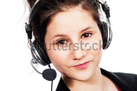 Güzel kız kulaklık bakıyor kulaklık Stok fotoğraf © SLP_London