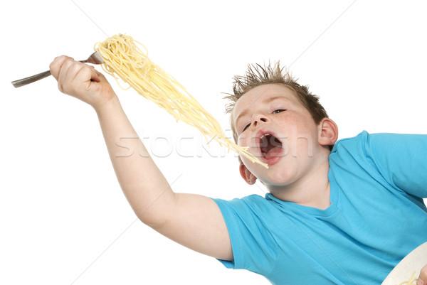 Erkek yeme spagetti büyük çatal tok Stok fotoğraf © SLP_London