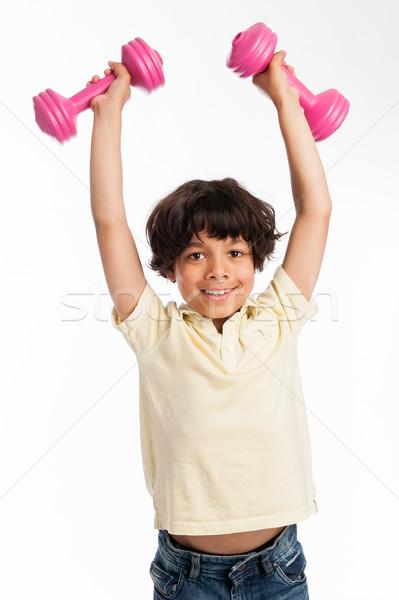 Sevimli erkek ağırlıklar yalıtılmış Stok fotoğraf © SLP_London