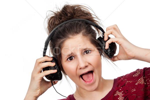 Photo stock: Adolescente · casque · musique · studio · blanche